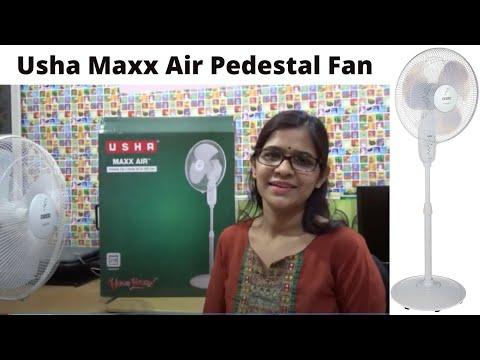 Usha Maxx Air Pedestal 400 mm Fan (white) First Hand Review in Hindi