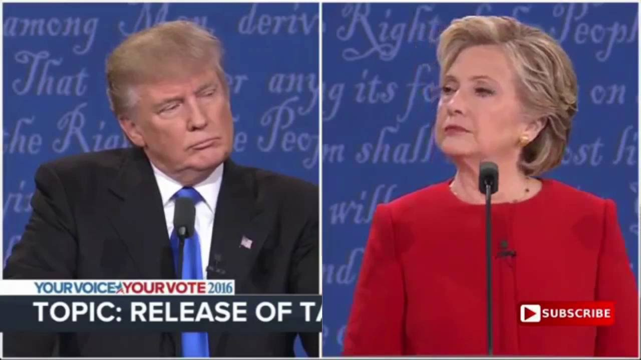 presidential staring contest hillary vs trump first debate youtube