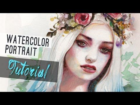 Watercolor Tutorial   How to paint a portrait