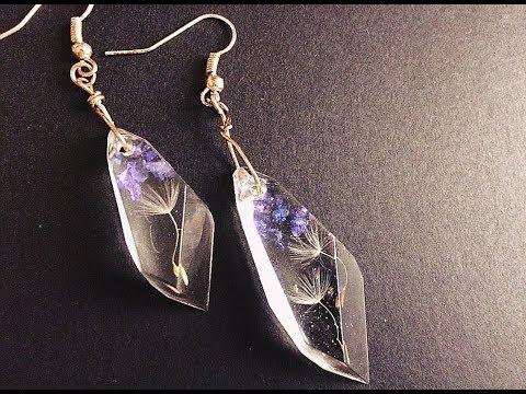 2 Simple Dandelion Resin Earrings