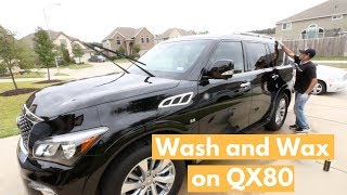 WASH and WAX on HUGE QX80 - How To Wash, Clay, Wax Black Paint
