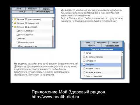 Калькулятор калорий и витаминов