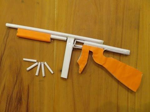 How to make a Paper Thompson M1A1 Machine Gun that shoots - GTa Weapon