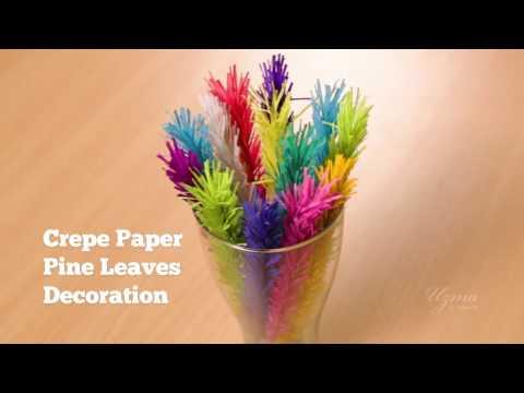 Crepe Paper Pine Leaves Decoration | Home Decor | Easy Craft Idea #crepepaperflower