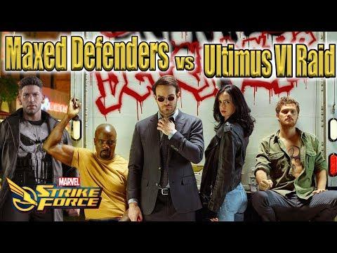 Defenders Reworked vs Ultimus VI Raids (Test Server Footage)- Marvel Strike Force