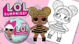 LOL SURPRISE DOLL QUEEN BEE | COLORING BOOK PAGES FOR KIDS