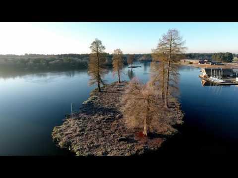 Phantom 4 flying over frozen Hawley Lake