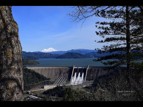 Shasta Dam Full and Releasing 70,000 Cubic Feet per Second 02/12/17
