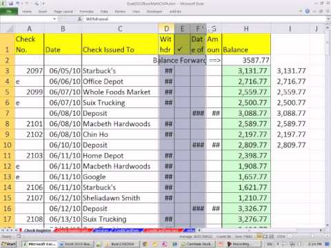 Excel 2010 Business Math 40 Create Checkbook Register In Excel