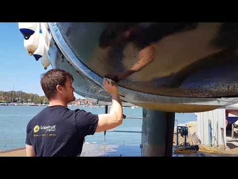 Cleaning the hull on a Bavaria 35 Match