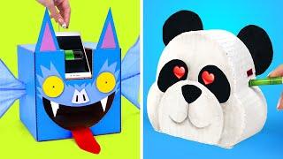 Cute And Useful Cardboard Сrafts || DIY Panda Sharpener And Bat Phone Charger From Cardboard