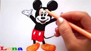Mickey Maus zeichnen - Malen für Kinder - How to draw Mickey Mouse - Как нарисовать Микки Мауса