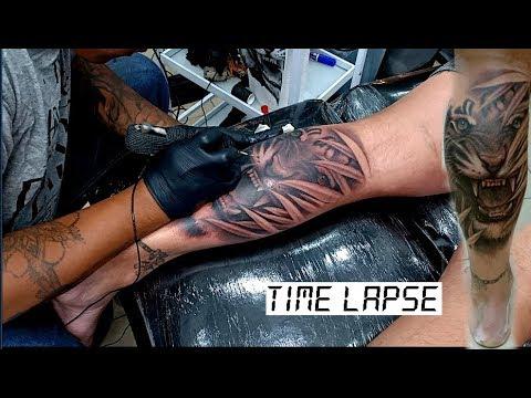 Amazing Tiger Tattoo Calf   Tattoo Time Lapse