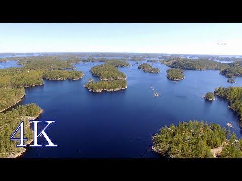 Flying over Finland *Saimaa Pihlajavesi archipelago 4K