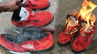 I BURNT MY JORDAN 5's RAGING BULLS! FU*K YOU HYPEBEAST! I GOT SCAMMED!