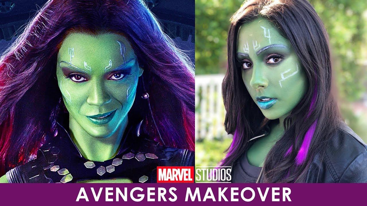 makeup transformation: gamora from avengers infinity war - youtube