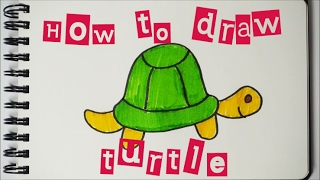 How to draw a cute turtle 如何畫可愛小烏龜 Easy step by step