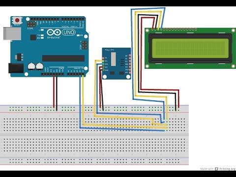 Реализация часов с использованием DS1307 и диспленя 16на2 на Ардуино в программе FLProg
