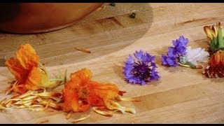 Edible Flowers Bachelor Buttons, Calendula And Nasturtiums