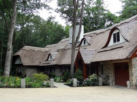 Fairy Tale Thatched Roof Home With New England Fieldstone Boston Blend  Round Stone Siding