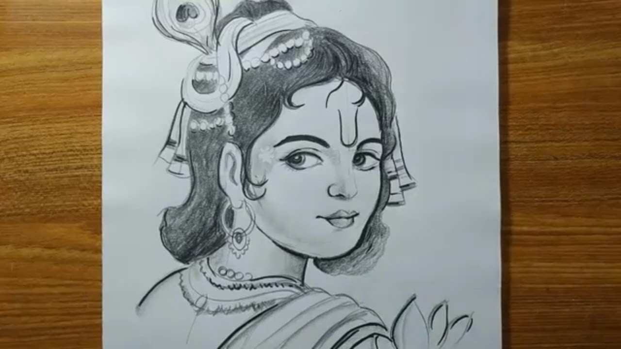 very easy pencil sketch lord krishna for jhulan yatra ...