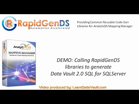 How to call RapidGenDS libraries to generate Data Vault2.0 SQL for SQL Server along with AMM