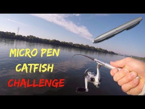 Catching Catfish In MICRO PEN Fishing Rod Challenge!?