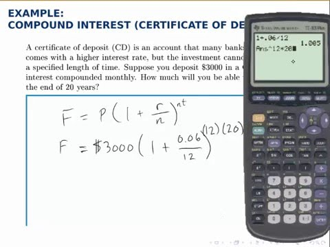 Finance Example: Future Value with Compound Interest (CD) - YouTube