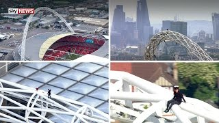 Wembley Stadium Free Climb   James Kingston On The Arch