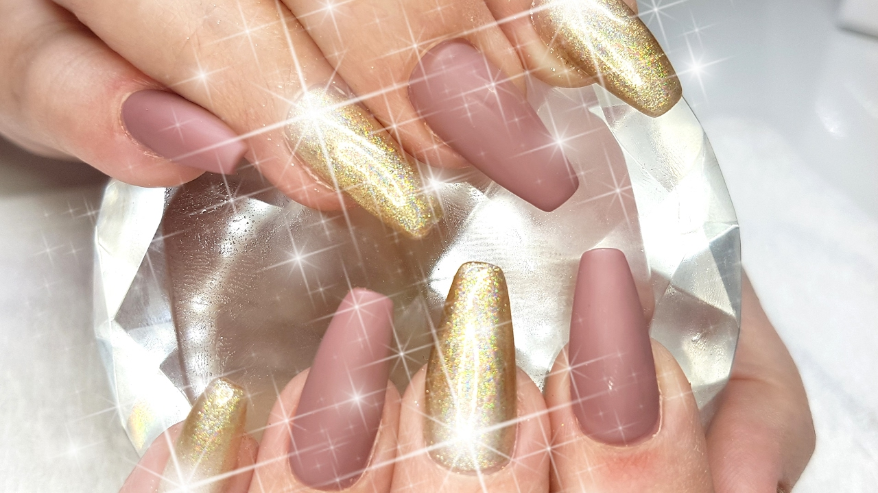 Acrylic Nails Matte Brown & Holo Light Gold Nail Design - YouTube