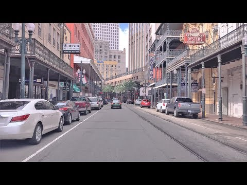 Driving Downtown 4K - New Orleans' French Quarter - USA
