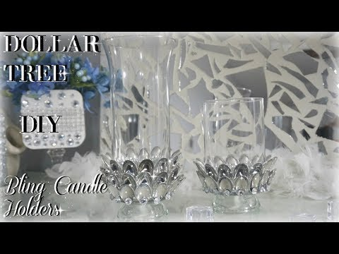 DIY DOLLAR TREE BLING CANDLE HOLDERS | DIY ROOM DECOR 💎💎