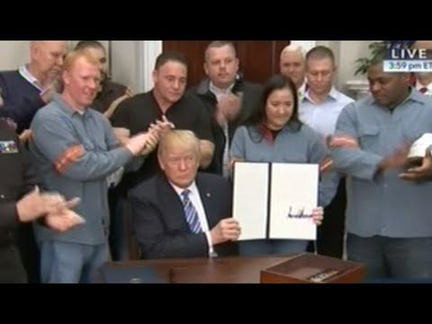 President Trump Signs Steel Tariffs Proclamation Surrounded By Steel Workers