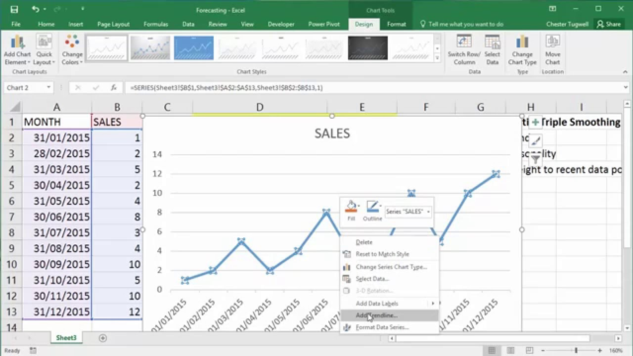 FORECAST LINEAR & FORECAST ETS Functions in Excel 2016