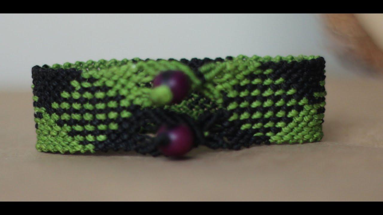 9e15384e0cd4 tutorial pulsera macrame huesito con rombos ancha