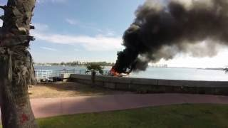 Isogo TV accidentally captures boat explosion and fire in Glorietta Bay Coronado