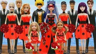 Play Doh Wedding Ladybug & Cat Noir Elsa Anna Mal Tiana Jack Frost Kristoff Ben Naveen Chelsea Dolls