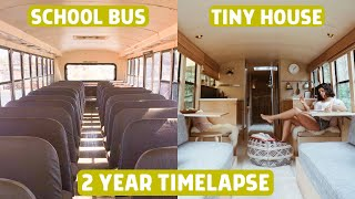 Family Transforms Rare School Bus into STUNNING Tiny House: 2 Year Timelapse!