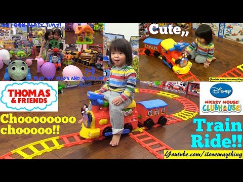 A Toddler Riding on a Train! Mickey Mouse and Thomas the Tank Engine. Ride-On Train Power Wheels