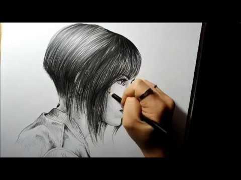 GHOST IN THE SHELL Major Motoko Scarlett Johansson Speed Drawing Portrait