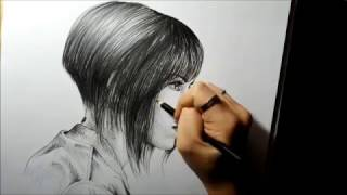 "GHOST IN THE SHELL ""Major"" Motoko (Scarlett Johansson) -speed drawing portrait-"