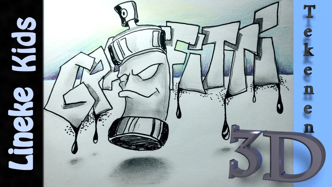 Top GRAFFITI LETTERS en spuitbus tekenen - 3D tekenen #44 - YouTube @TF58