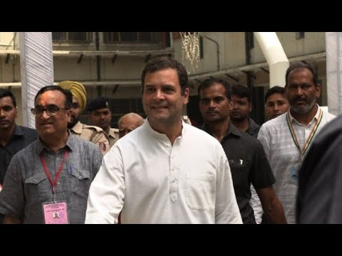 India's Congress party leader Gandhi votes in general election