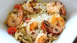 Stay Fit Sunday | Pesto Orzo Salad With Shrimp