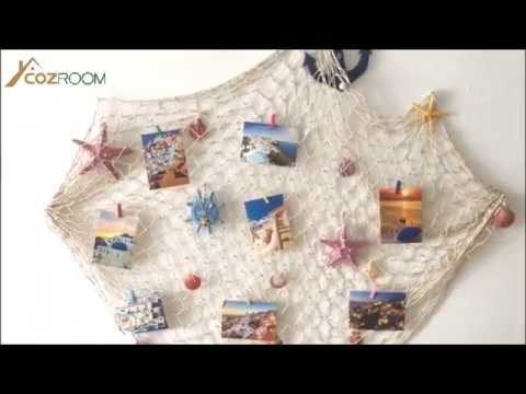 Mediterranean Style Fishing Nets With Sea Shells And Anchor Decorative