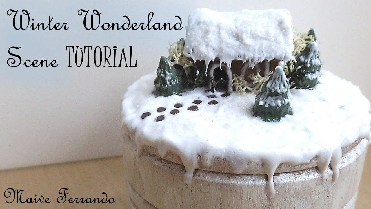 Polymer Clay Christmas Village.Polymer Clay Winter Wonderland Christmas Scene Box Mixed Media Tutorial