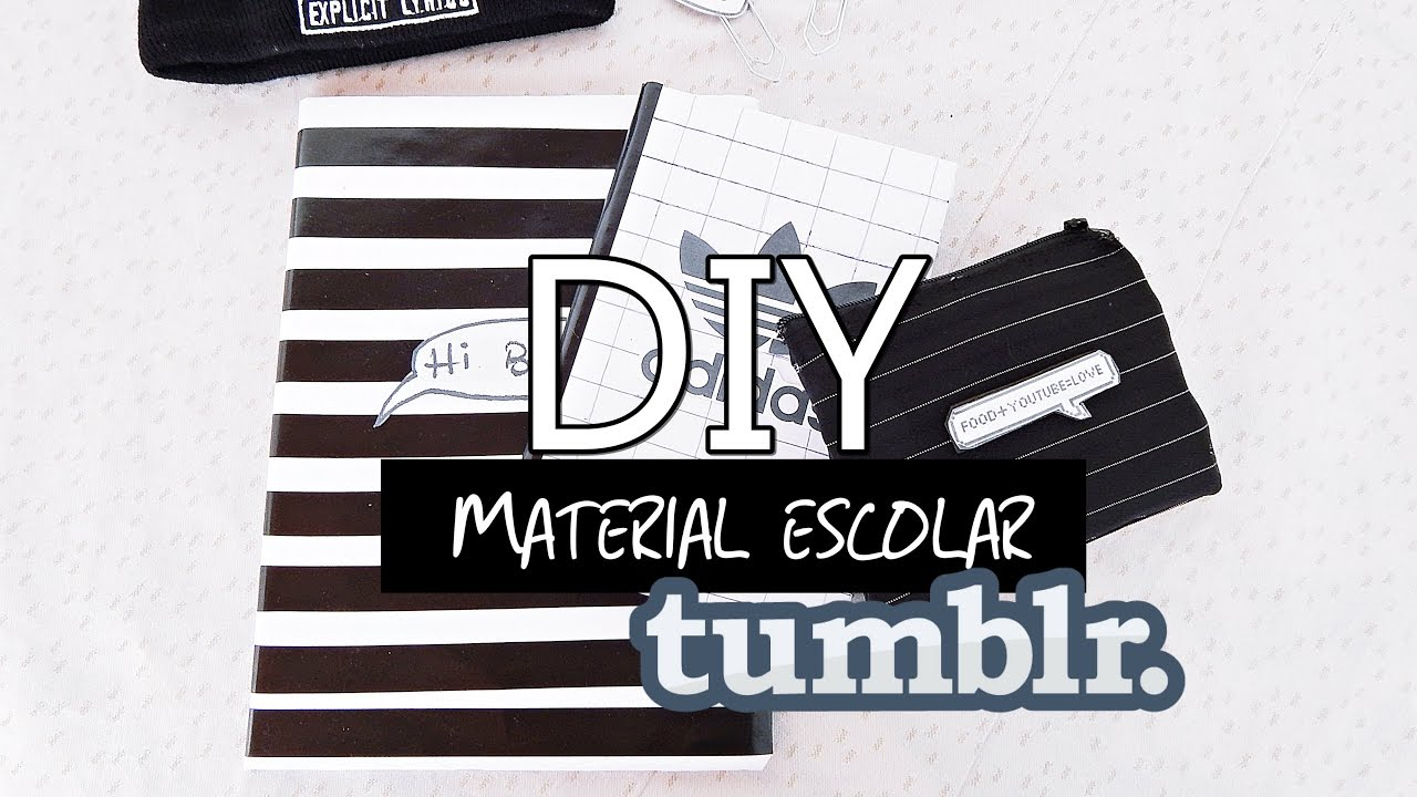 Diy Material Escolar Tumblr Caderno Listras Adidas Estojo Clips