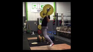 Squat clean no hands snatch 50kg (including fails)