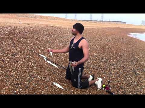 Mackerel Fishing In Lydd, Dungeness Beach. Dover