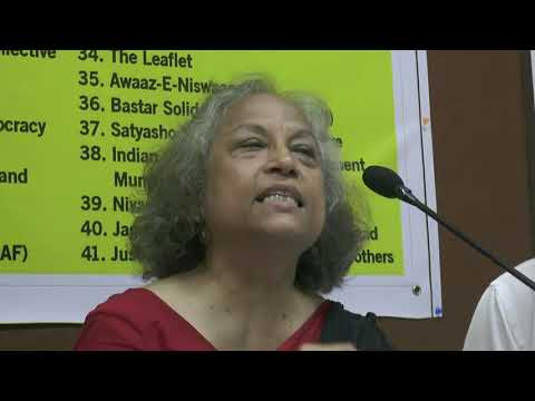 Neelima Dutta of Lawyers Collective at the press conference on arrests of activists